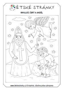 Mikuláš, čert a anděl - omalovánka