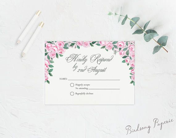 Hand painted Promise response card avaiable as a printable design on Etsy Visit Birdsong Paperie's Shop #responsecard #wedding #stationery #rsvpcard #rsvp #weddinginspiration #bride #illlustration #papergoods #romantic #classic