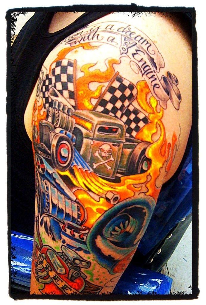 Image Result For Automotive Tattoo Half Sleeve Rockabilly Tattoo