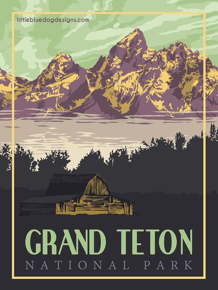 Grand Teton National Park Wyoming – Vintage Travel Poster