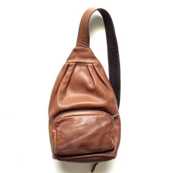 Vintage Brown Leather Single Strap Sling Backpack by oldtanery