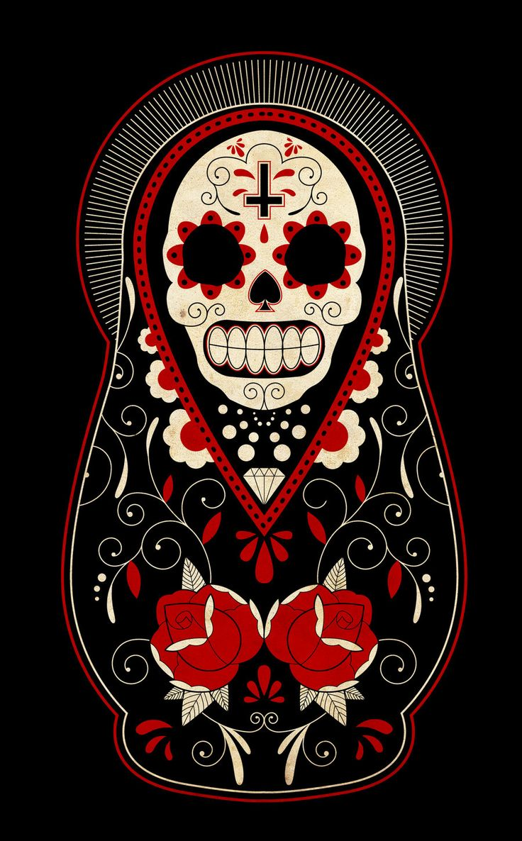 Calavera matrushka doll motif.