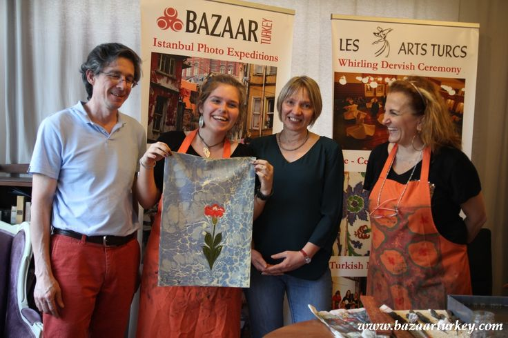 Art of Ebru - Paper Marbling  Classes for our guests from Canada - May 2016 http://bazaarturkey.com/shop/marbling-ebru-class-istanbul - See more at: http://bazaarturkey.com/shop/bazaarturkey-blog/ottoman-ebru-marling-classes-istanbul