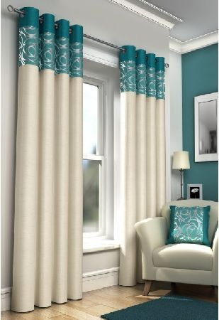 New York Teal - Lined Eyelet Curtains This is a modern eyelet curtain which would look great in a new home. The main colour of the fabric is cream and the top of the curtain is a teal colour which could complement someone living room deco http://www.MightGet.com/january-2017-12/new-york-teal--lined-eyelet-curtains.asp