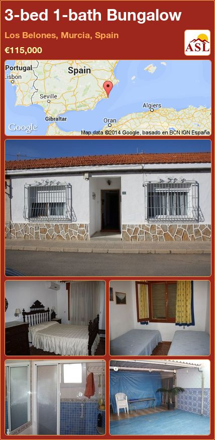 3-bed 1-bath Bungalow in Los Belones, Murcia, Spain ►€115,000 #PropertyForSaleInSpain