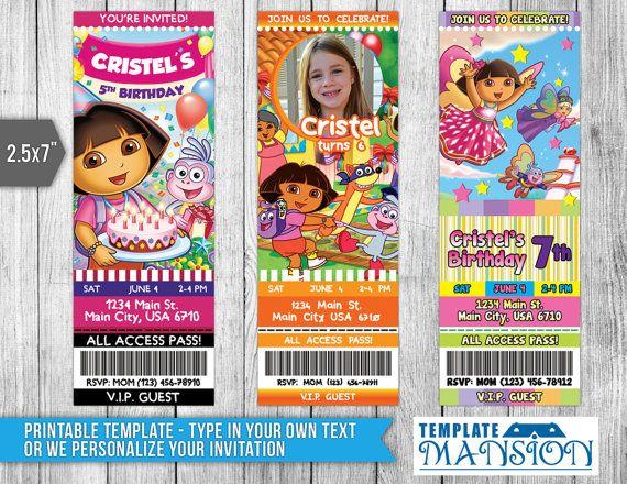 7 best Dora the Explorer Invitation Printables images on Pinterest - birthday invitation card template photoshop