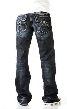 "Rock Revival Mick Bootcut jeans for men - If you choose to be intentionally baggy, look for a boot cut, straight leg or loose fitting design with stitching that says - I am supposed to look like this. As opposed to, ""I am hiding in these baggy clothes, so please don't look at me"""