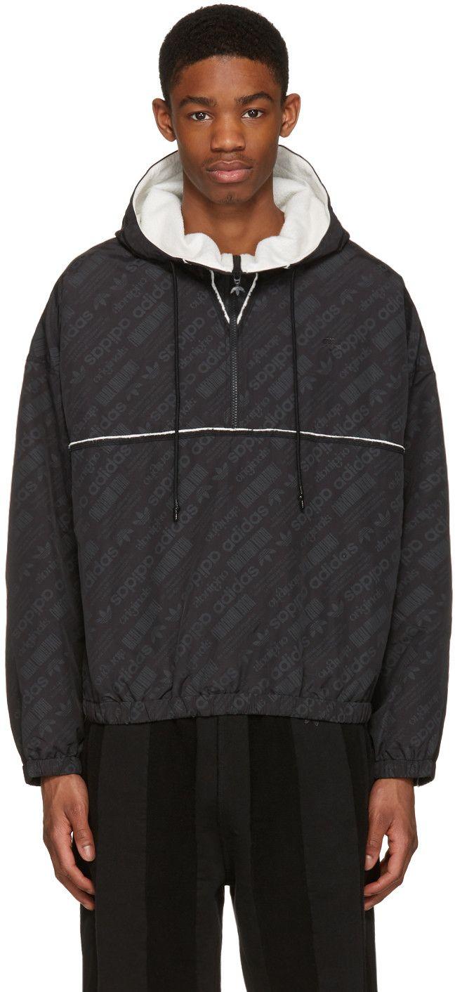 ADIDAS ORIGINALS BY ALEXANDER WANG Black Windbreaker Jacket. #adidasoriginalsbyalexanderwang #cloth #jacket