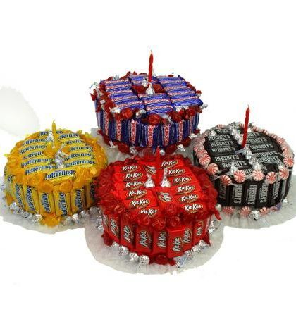 A new twist on the traditional birthday cake. This one is made of their favorite things....your choice of several favorite candy bars, plus candy kisses and assorted hard candies. Something fun to be enjoyed by all! Evansville Metro Delivery Only...