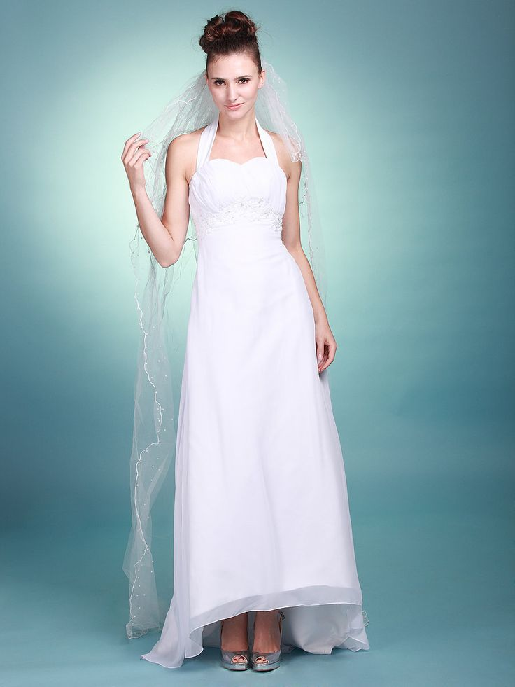 Halter High Low Wedding Gown A Line Princess Empire