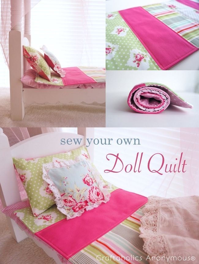 How to sew a Doll Quilt tutorial. Love the cute fabrics! #doll #craft