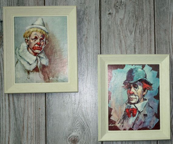 Hey, I found this really awesome Etsy listing at https://www.etsy.com/listing/199235628/clown-prints-by-leighton-jones-set-of-2
