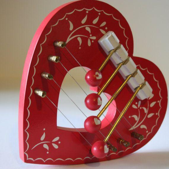 Vintage Scandinavian Door Harp Red Heart by Themlemondrops on Etsy