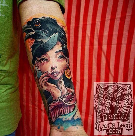 laemergente | TATUAJES | Tattoos | crow tattoo | girl tattoo