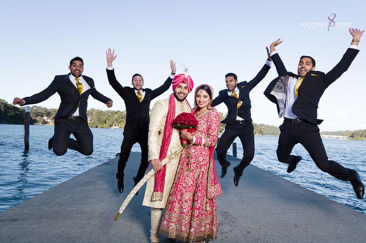 Revina + Shaminder - Stylish Punjabi Wedding in Sydney - Wedding day photo shoot - groomsmen picture - groomsmen pose - Wedding day style - wedding ceremony - gurdwara - Indian bride - Indian groom - Indian wedding - Sikh wedding - Sikh bride - Sikh groom - Punjabi wedding - Punjabi bride - Punjabi groom - hot pink wedding anarkali - heavy wedding anarkali. Read more at www.thecrimsonbride.com! #thecrimsonbride