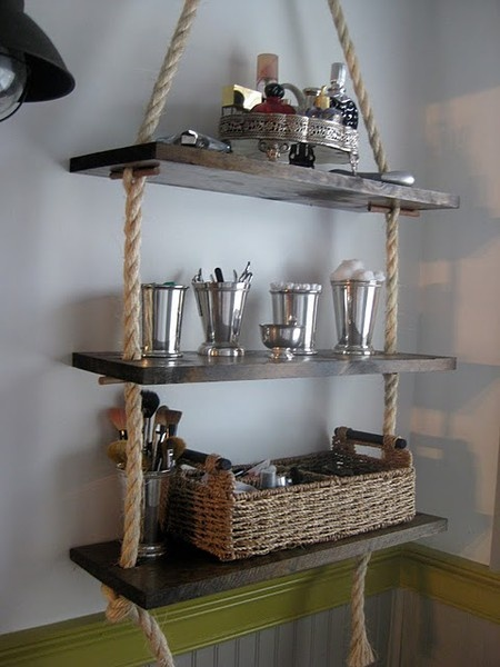 diy bathroom rope shelves or maybe use an old swing to sit potted plants on hanging from ceiling in a window.