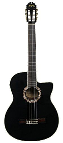 Washburn C5CE Classical Acoustic-Electric Guitar - Black ** Click image to review more details.