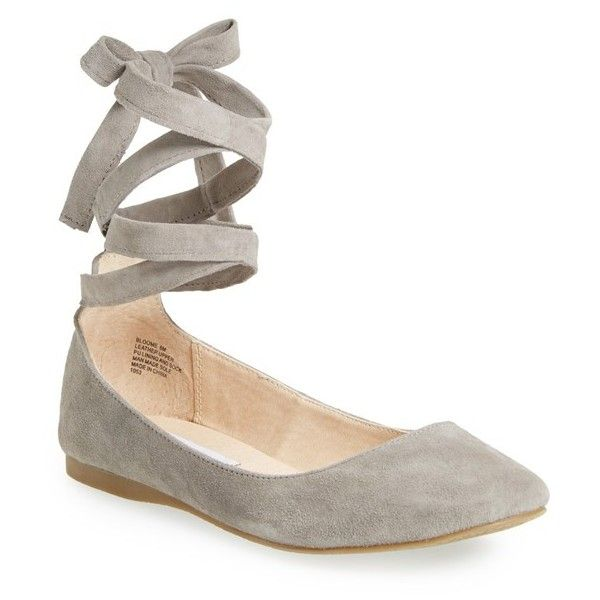 Steve Madden 'Bloome' Wraparound Tie Flat ($80) ❤ liked on Polyvore featuring shoes, flats, grey suede, ballet flats, grey suede shoes, grey suede flats, suede flats and flat shoes