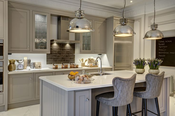 Hand painted kitchen in grade II listed refurbished apartment designed by www.aji.co.uk