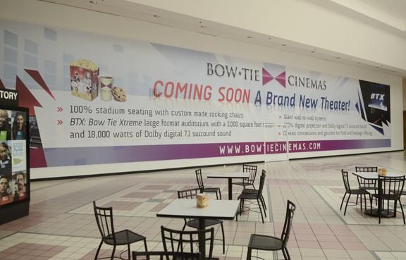 Bow Tie to open Saratoga Springs, Wilton movie theaters within a week of each other // Behind the scenes and faux entrance, workers are busy preparing to for the opening of Bow Tie Cinemas at Wilton Mall. (ED BURKE — THE SARATOGIAN