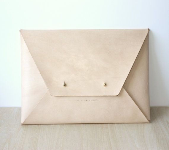Personalised Envelope Leather Folio / Clutch / Laptop Case / Document Holder - Minimalist, Handmade, Vegetable Tanned Leather, Nude / Beige