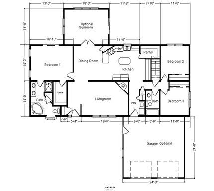 Single Level House Plans With Garage Single Level Ranch House ...
