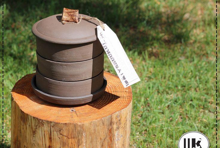 Sprouting pot. Handmade ceramics. Materials: natural clay and black clay mixed.