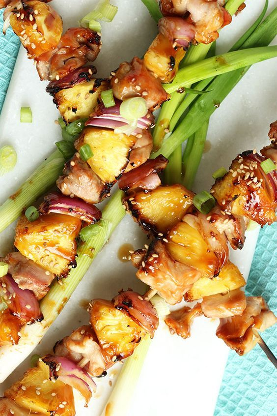 Ready in under 30 minutes, Grilled Teriyaki Glazed Chicken Kabobs are the perfect summer dinner.