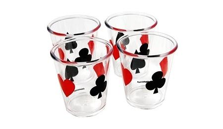 Shots con figuras de poker. Sirve tu shots en tu fiesta con tema de casino con estos vasos tequileros. Sorprende a tus invitados a tu fiesta de Casino Nights, y los vasos no pueden ser la excepcion. Este set inclue 4 Shots.