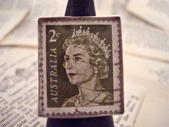 Vintage Queen Elizabeth II Australia Stamp is Set by SilverGypsys, $48.00