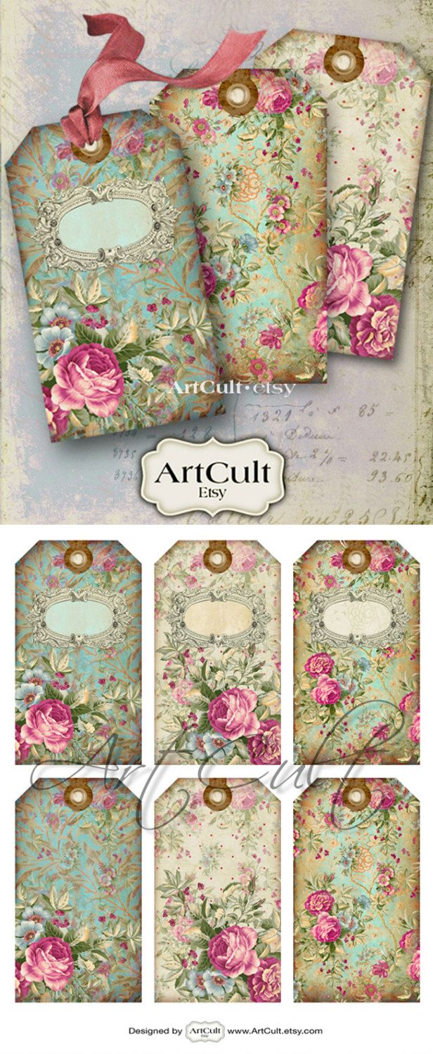 Gift Tags JEWELRY HOLDERS No.10 Digital Collage Sheet by ArtCult