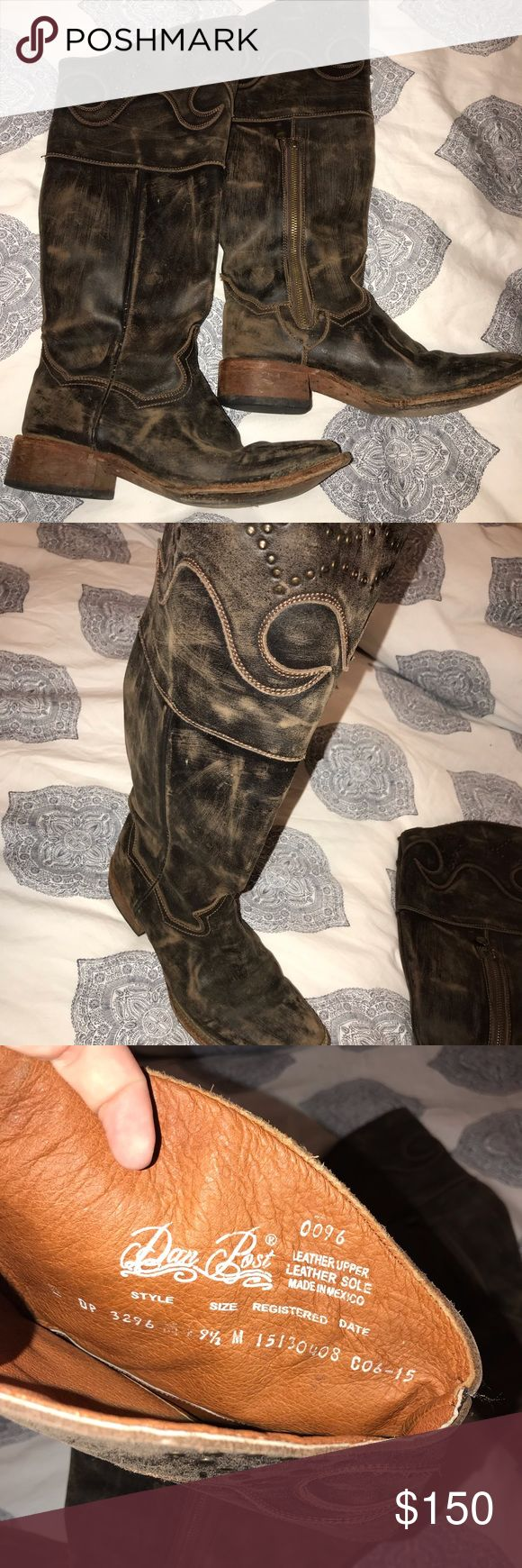 Beautiful dan post knee high western boot Beautiful rustic knee high western fas…