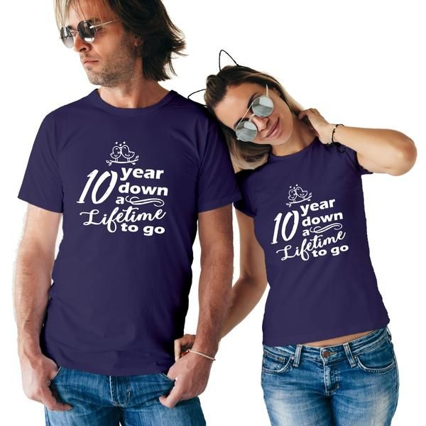 10 Year Wedding Anniversary Gift Ideas For Couple: 10 Years Anniversary Special Custom Couple T-Shirt