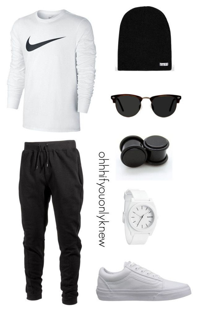 """Untitled #240"" by ohhhifyouonlyknew on Polyvore featuring Ace, Ideology, NIKE, Vans, Neff and Nixon"