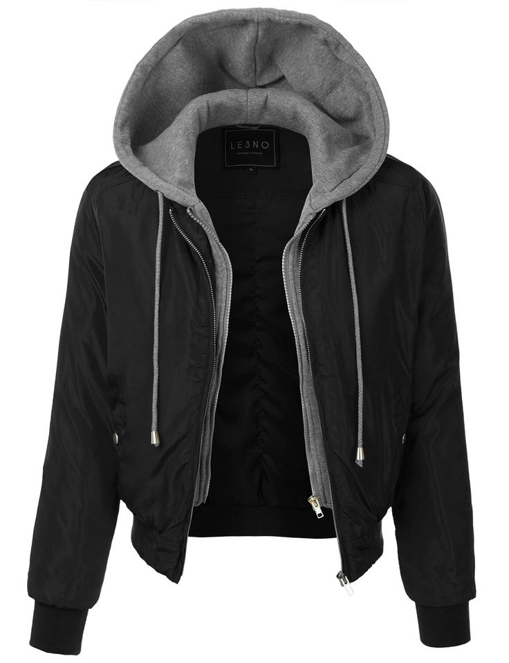 LE3NO Womens Padded Varsity Bomber Cropped Jacket with Fleece Hoodie
