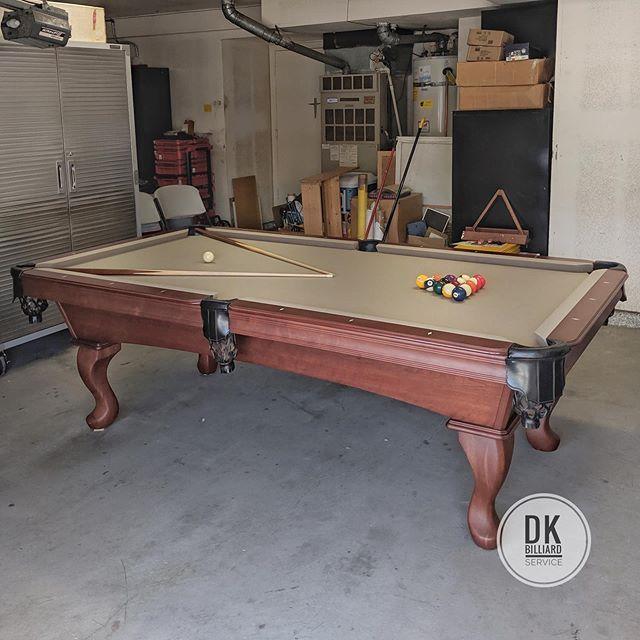 Olhausen Reno Install In Tustin 8 Foot Khaki Felt Billiards Dkbilliards Playpool Mancave Gameroom Pooltable Pool Table Room Pool Table Play Pool