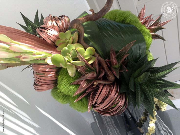 Modern arrangement in black vase  - This floral creation has been designed by Fabio Zardi, for a private event at Grace Hotel, Imerovigli, on June 26th, 2014.