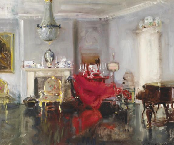 Francis Campbell Boileau Cadell, RSA RSW (British, 1883-1937) The Artist's Drawing Room 63.5 x 76 cm. (25 x 30 in.)