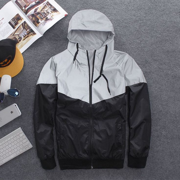 Men's Jacket Autumn Patchwork Reflective Waterproof Windbreaker