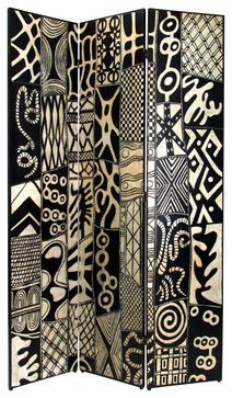 Wayborn African Motif Room Divider in Black/Silver contemporary-screens-and-wall-dividers