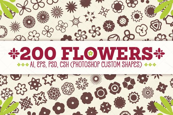 Check out 200 Flowers - Vector Shapes Set by pixaroma on Creative Market