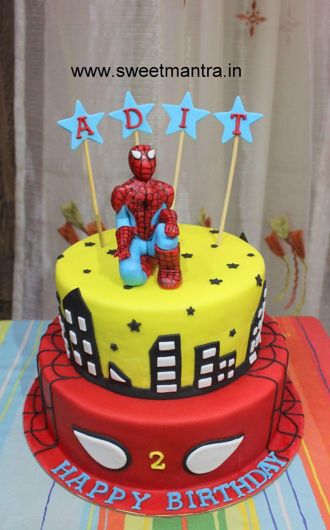 Homemade Eggless 3D/Custom 2 tier Spiderman theme 2nd birthday cake for boy at Pimpri, Pune