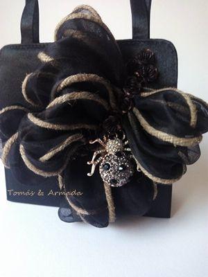 Detalle bolso de raso negro con asas