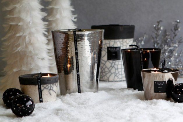Silver Metalic candles by Baobab