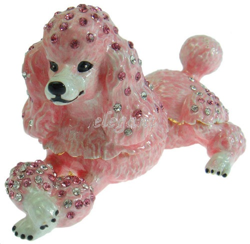 Pink Poodle Dog Crystals Jewellery Jewel Wedding Favor Gift Trinket Ring Box | eBay