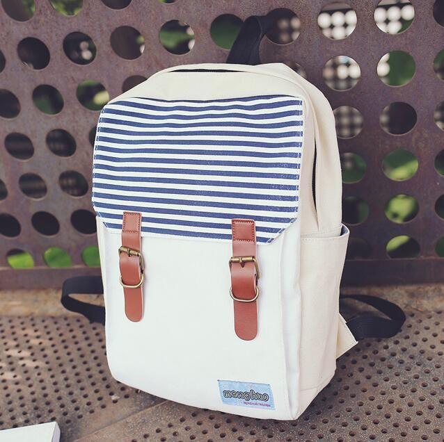 Вмс ветер полоса рюкзак моды женщин холст рюкзак школьные сумки для девочек подростков двойной пряжки ремня рюкзак mochila купить на AliExpress