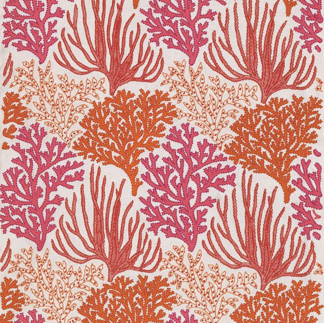 fabric wallpaper Maison Paris Cole & Son De Gournay Coral and Fish back of cabinets