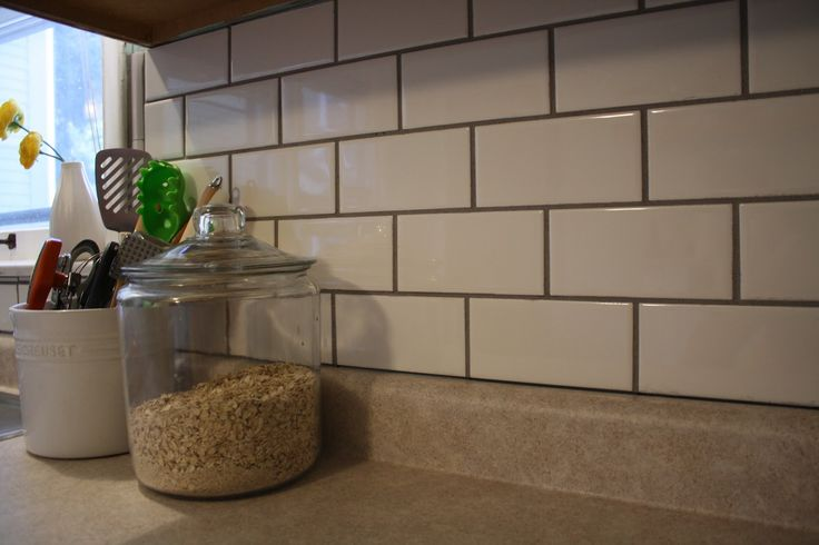 subway tile backsplash black grout sab pinterest
