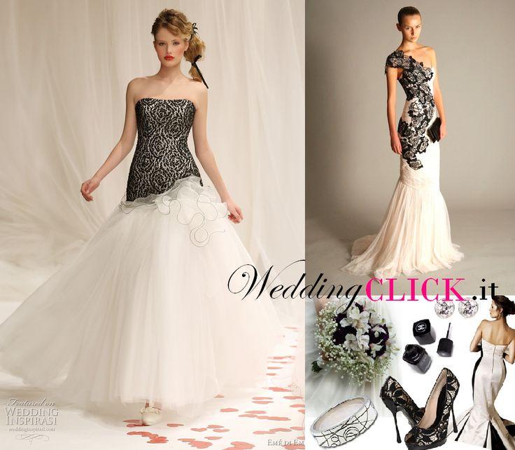 Vestito bianco e nero per matrimonio segreto