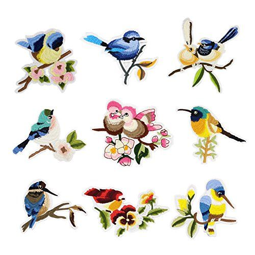 Iron-on Bird Patches (Set of 9) - Embroidered Appliques, ...amazon.com